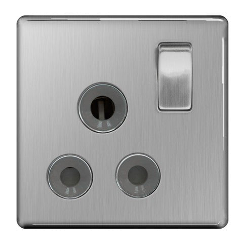 BG FBS99G Screwless Flat Plate Brushed Steel 15A 1 Gang Single Pole Switched Socket - Grey Insert - BG - sparks-warehouse