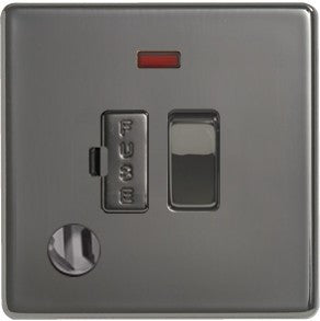 BG Nexus FBN53 Screwless Flat Plate Black Nickel 13A Switched Fused Connection Unit Indicator And Flex Outlet - BG - sparks-warehouse