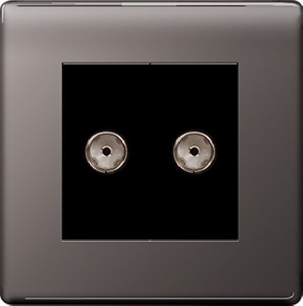 BG Nexus FBN63 Screwless Flat Plate 2 Gang Isolated Co-Axial Socket - Black Nickel - BG - sparks-warehouse