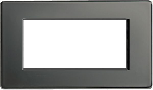BG Nexus FBNEMR4 Screwless Flat Plate Black Nickel 4 Module Front Plate (100 x 50mm) - BG - sparks-warehouse