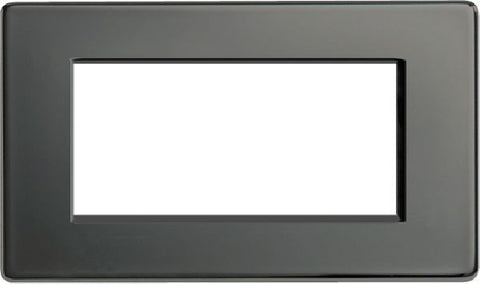 BG FBNEMR4 Screwless Flat Plate Black Nickel 4 Module Front Plate (100 x 50mm)