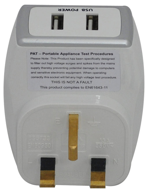 BG SRGAUSBPW USB CHARGER With Plug THROUGH SURGE Socket Polished White