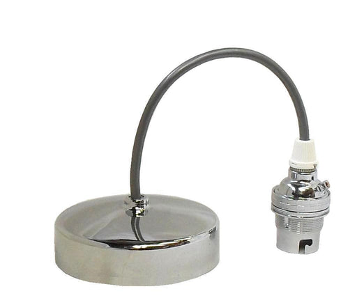 "05029 Pendant Set 9"" Polished Chrome (Silver Flex & Chrome Lampholder) - Lampfix - Sparks Warehouse"