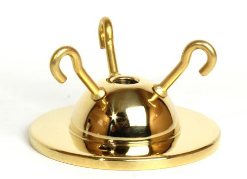 "05070 - 3-hook Ceiling Plate Brass 2¾"" Ø"