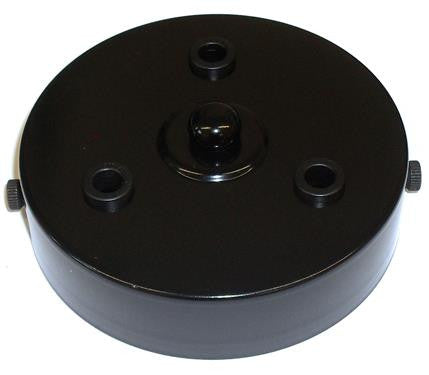 05666 - Metalbrite Ceiling Rose Black 100mm Ø 3-hole - LampFix - sparks-warehouse