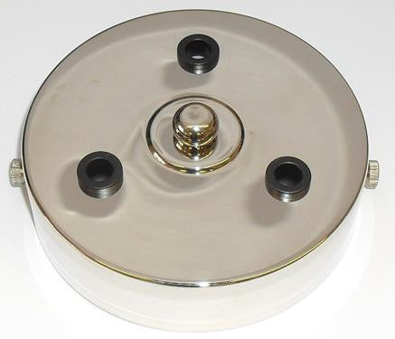 05669 - Metalbrite Ceiling Rose Nickel 100mm Ø 3-hole - LampFix - sparks-warehouse