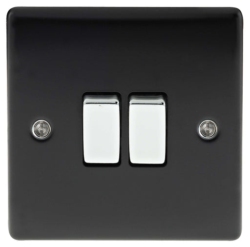BG Nexus NMB42 Metal Matt Black & Chrome Light Switch Plate - Double 2 Gang 2 Way - BG - Sparks Warehouse