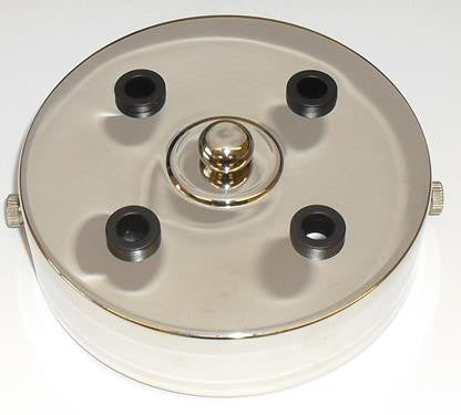 05671 - Metalbrite Ceiling Rose Nickel 100mm Ø 4-hole - LampFix - Sparks Warehouse