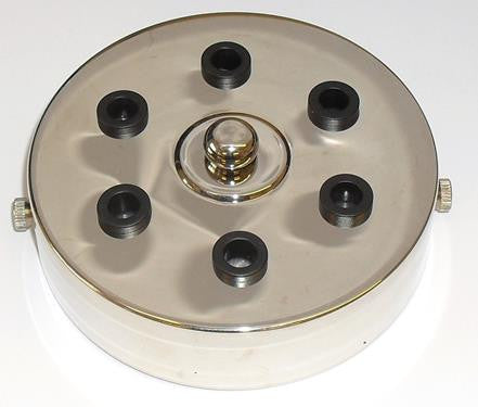05672 - Metalbrite Ceiling Rose Nickel 100mm Ø 6-hole - LampFix - sparks-warehouse