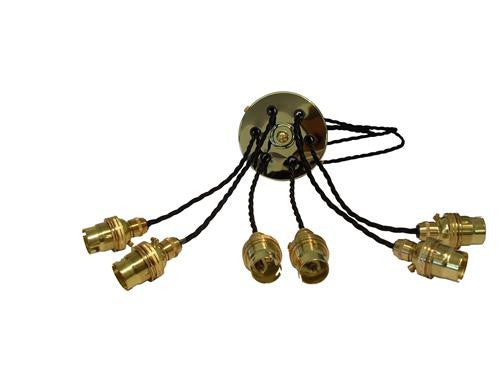05689 - SUSAN Brass Rose, Twisted Black Flex Sextet - LampFix - sparks-warehouse
