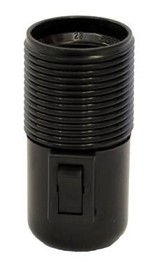05804 - Continental Lampholder 10mm ES Threaded Black Switched - LampFix - sparks-warehouse
