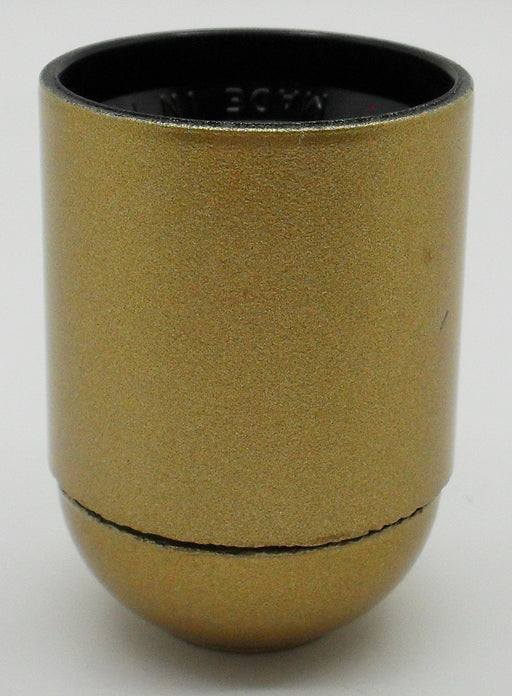 05958 Lampholder 10mm ES Smooth Skirt Gold - ES / Edison Screw / E27, Gold Plastic, 10mm Thread Entry - Lampfix - Sparks Warehouse