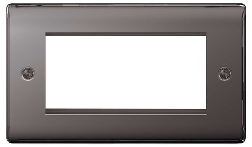 BG Nexus NBNEMR4 Black Nickel 4 Module  Front Plate (100 X 50mm) - BG - sparks-warehouse
