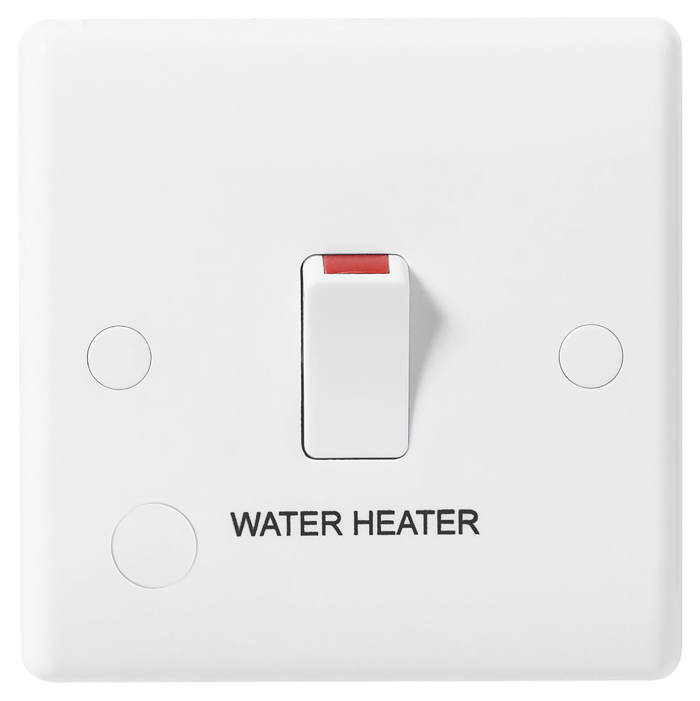 BG Nexus 832WH 20A Double Pole Switch FUSED With FLEX Outlet Labelled  *WATER HEATER* - BG - sparks-warehouse