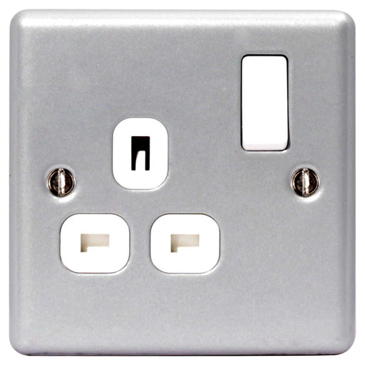 BG MC521 METAL CLAD 13A 1 Gang Double Pole Switched Socket - BG - sparks-warehouse