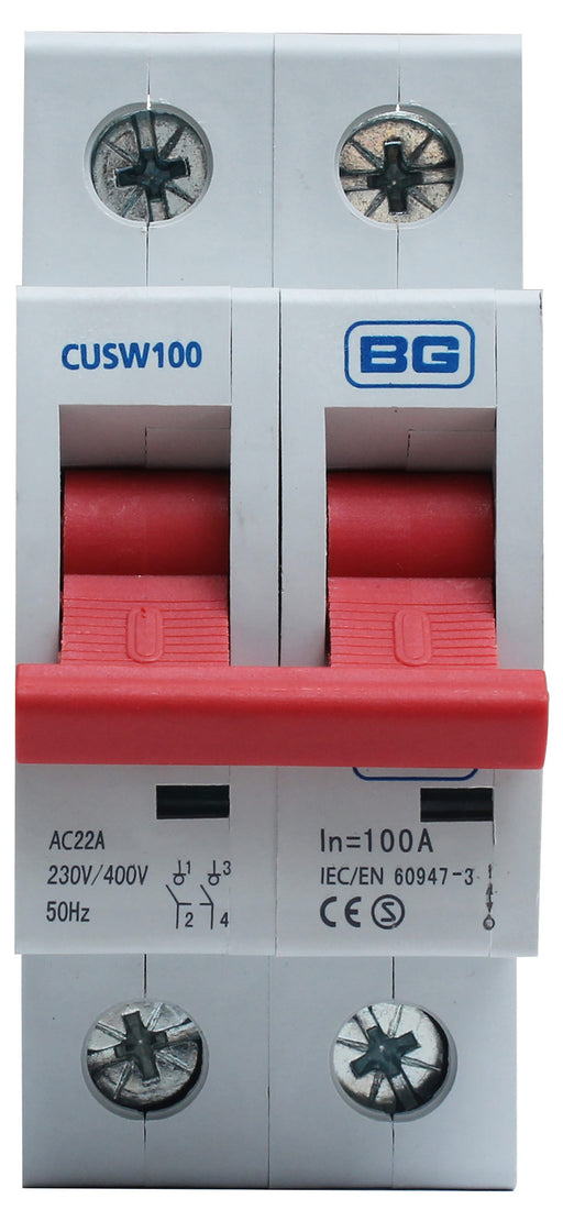 BG CUSW100 MAIN Switch 100A DP - BG - sparks-warehouse