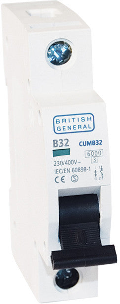 BG Electrical CUMB32 Single Pole Type B Miniature Circuit Breaker MCB 32A - BG - Sparks Warehouse
