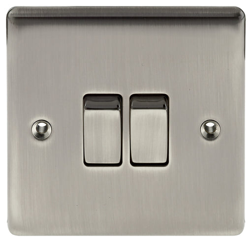BG Nexus NBI42 Metal Brushed Iridium Light Switch Plate - Double 2 Gang 2 Way - BG - Sparks Warehouse