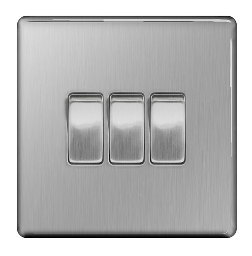 BG FBS43 Screwless Flat Plate Brushed Steel 10A 3 Gang 2 Way Plate Switch - BG - sparks-warehouse