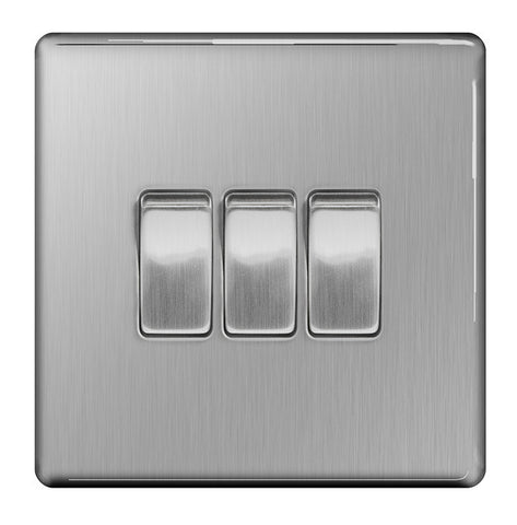 BG FBS43 Screwless Flat Plate Brushed Steel 10A 3 Gang 2 Way Plate Switch