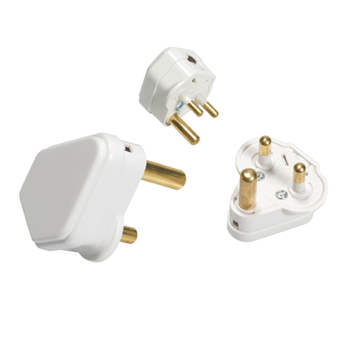 Knightsbridge SN1315A 15A Round PIN PLUG TOP - White - Knightsbridge - sparks-warehouse