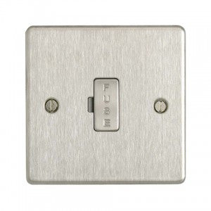 BG SBS54 Flat Plate Brushed Steel 13A Unswitched Fused Connection Unit - BG - sparks-warehouse