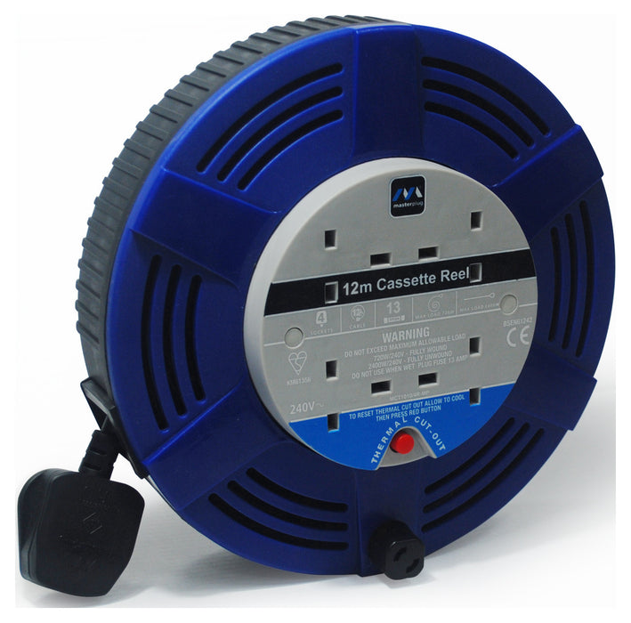 BG LCT1213/4BL 13A 12M 4 Gang Large Cassette Cable Reel in Blue - BG - sparks-warehouse