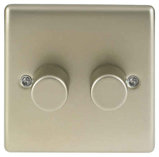 BG Nexus NPR82P Metal Pearl Nickel Double 2 Gang 2W 400W Dimmer Light Switch