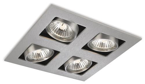 Firstlight 1504BS Cube 4 Light Square DownLight - Brushed Steel