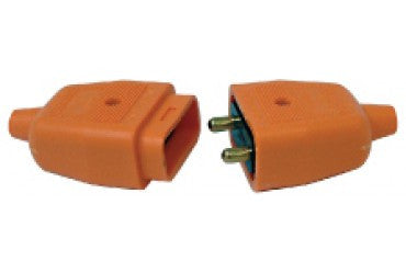 BG NC102O 2 X 10A 2 PIN HEAVY DUTY REVERSIBLE IN LINE RUBBER Connector ORANGE - BG - sparks-warehouse
