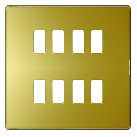 BG Nexus GFPB8 Grid Polished Brass SCREWLESS 8 Gang Front Plate