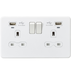 Knightsbridge SFR9904NMW Screwless 13A 2G Switched Socket With Dual USB Charger - Matt White