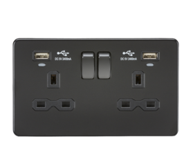 Knightsbridge SFR9904NMBB Screwless 13A 2G Switched Socket With Dual USB Charger - Matt Black Black Rocker
