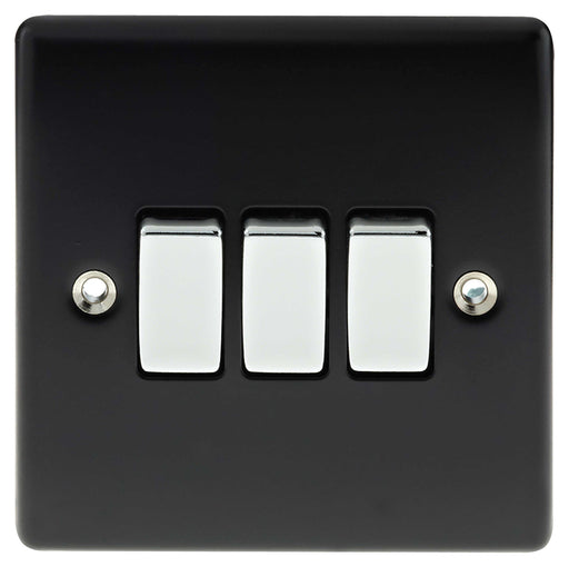 BG Nexus NMB43 Metal Matt Black & Chrome Light Switch Plate - Triple 3 Gang 2 Way - BG - Sparks Warehouse