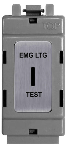 BG Nexus GBS12EL Grid Black Brushed Steel 20AX 2 Way Single Pole Secret KEY Module  Labelled  *EMG LTG TEST*