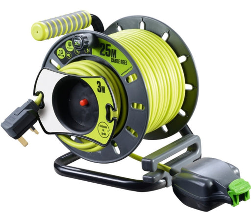 BG Masterplug OMU2513FL3IP-PX - Pro XT Medium Reverse Open Cable Reel with In-Line IP Socket 25m - BG - Sparks Warehouse