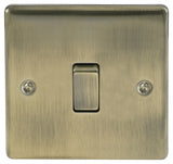 BG Nexus NAB12 Metal Antique Brass Light Switch Plate - Single 1 Gang 2 Way