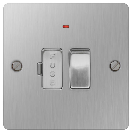 BG SBS52 Brushed Steel 13A Switched Fused Connection Unit With Neon - BG - sparks-warehouse