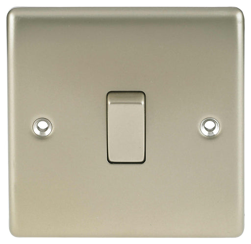 BG Nexus NPR12 Metal Pearl Nickel Light Switch Plate - Single 1 Gang 2 Way - BG - Sparks Warehouse