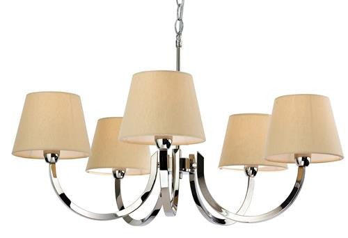 Firstlight 2322PST Fairmont 5 Light Fitting - Polished S/Stl with Cream Linen Shade - Firstlight - sparks-warehouse