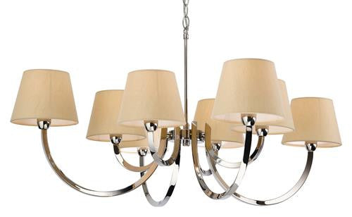 Firstlight 2323PST Fairmont 8 Light Fitting - Polished S/Stl with Cream Linen Shade - Firstlight - sparks-warehouse