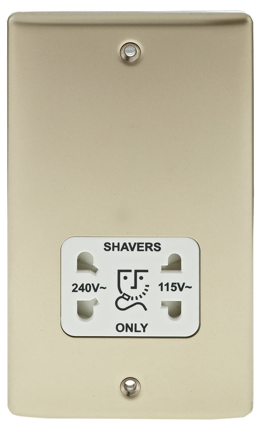 BG Nexus NPR20W Metal Pearl Nickel Shaver Socket Outlet - White Insert