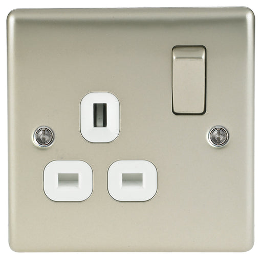 BG Nexus NPR21W Metal Pearl Nickel 1 Gang 13A Switched Socket - BG - Sparks Warehouse