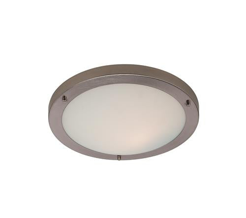 Firstlight 2740BS Rondo Flush Fitting - Brushed Steel with Opal Glass - Firstlight - sparks-warehouse
