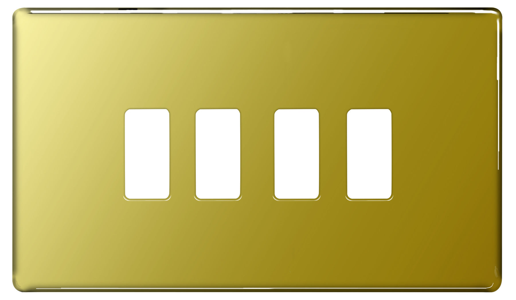 BG Nexus GFPB4 Grid Polished Brass SCREWLESS 4 Gang Front Plate - BG - sparks-warehouse