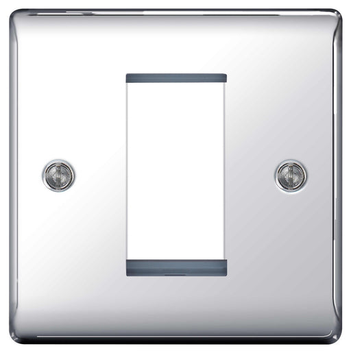 BG Nexus NPCEMS1 Polished Chrome 1 Module  Front Plate (25 X 50mm) - BG - sparks-warehouse