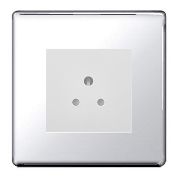 BG FPC28W Screwless Flat Plate Polished Chrome 2A Unswitched Round Pin Socket - White Insert - BG - sparks-warehouse