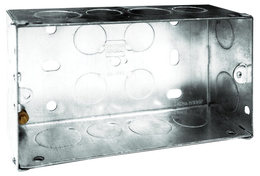BG HGS07 2 Gang 47mm Galvanised Pressed Steel Box - BG - sparks-warehouse