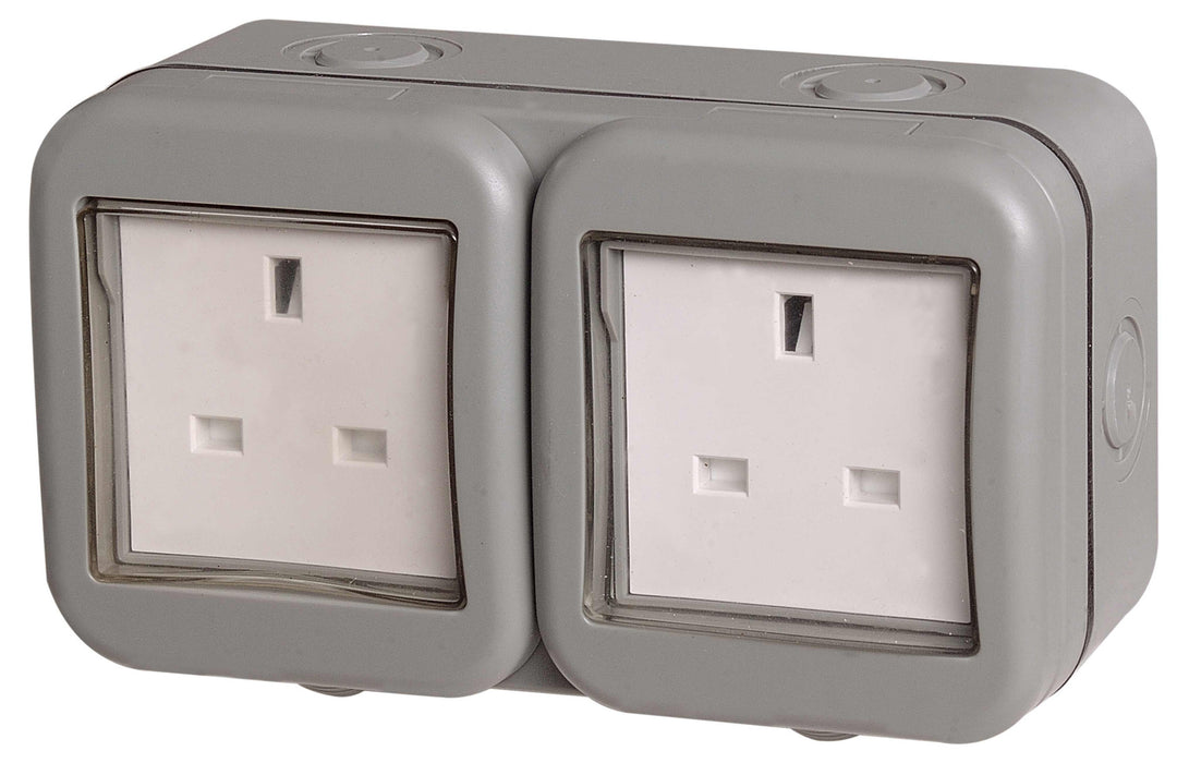 BG Nexus Storm WPB24 Weatherproof IP55 13A 2 Gang Unswitched Socket - BG - sparks-warehouse