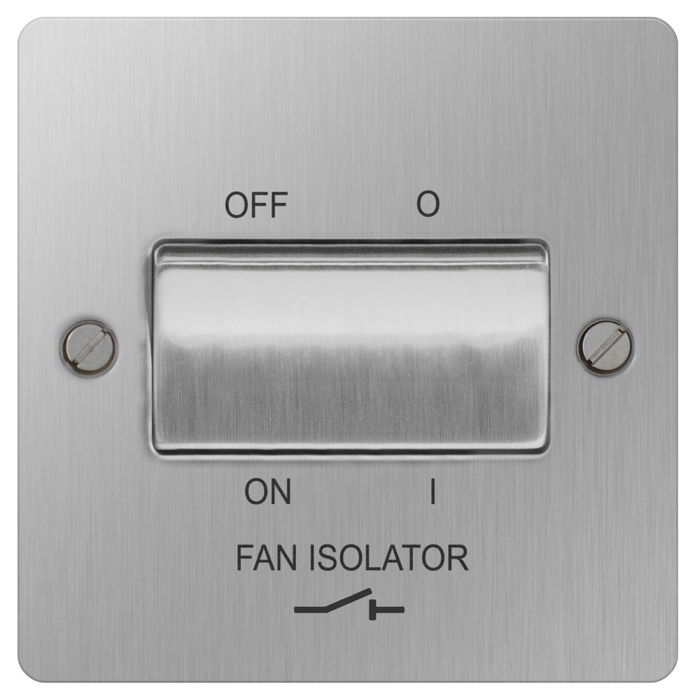 BG SBS15 Flat Plate Brushed Steel 10A Fan Isolator Switch - BG - sparks-warehouse